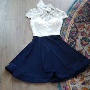Lace flirt skirt blue white dress sweetheart swing